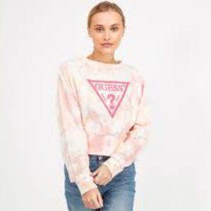 NWT Guess Cropped Eco Mirtilla Tie Dye Logo Fleece